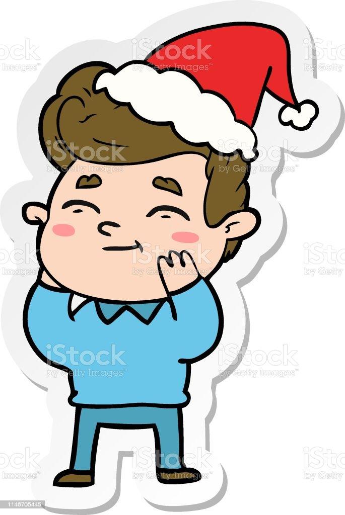 サンタの帽子をかぶった男の幸せなステッカーの漫画 いたずら