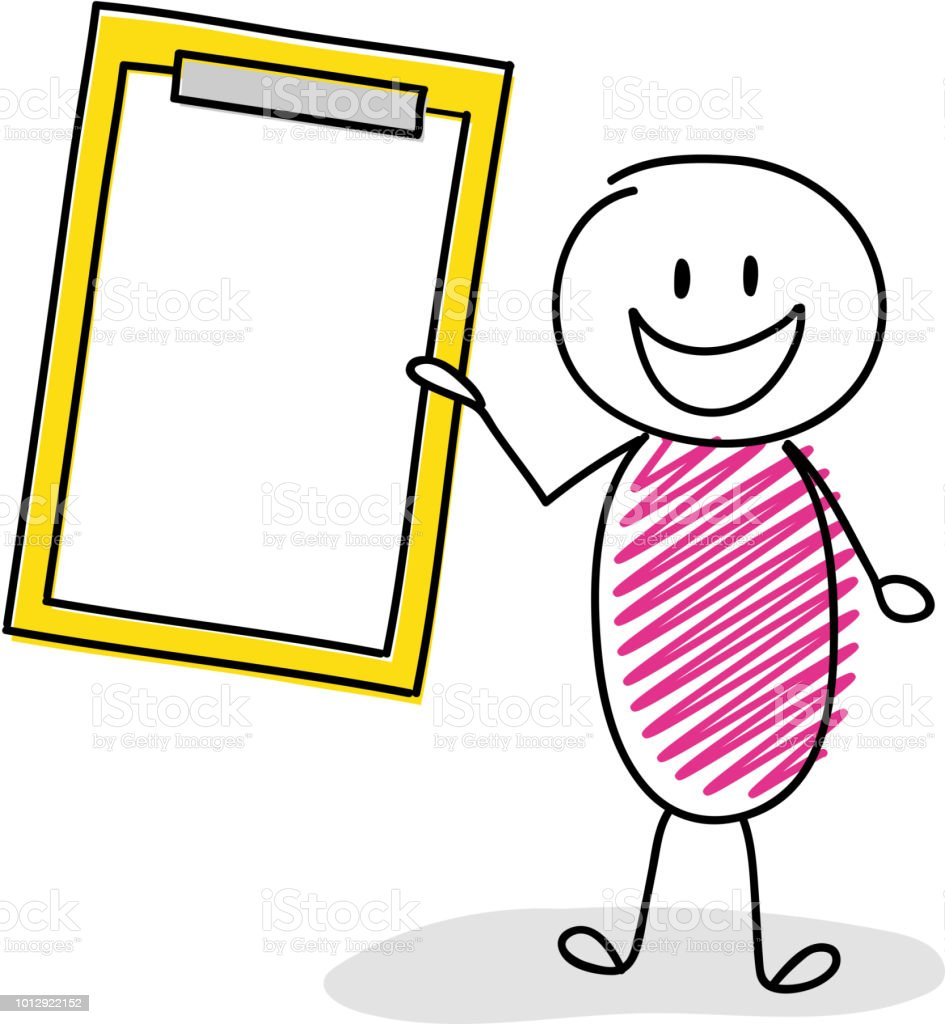 Happy stickman holding empty clipboard. Vector. vector art illustration