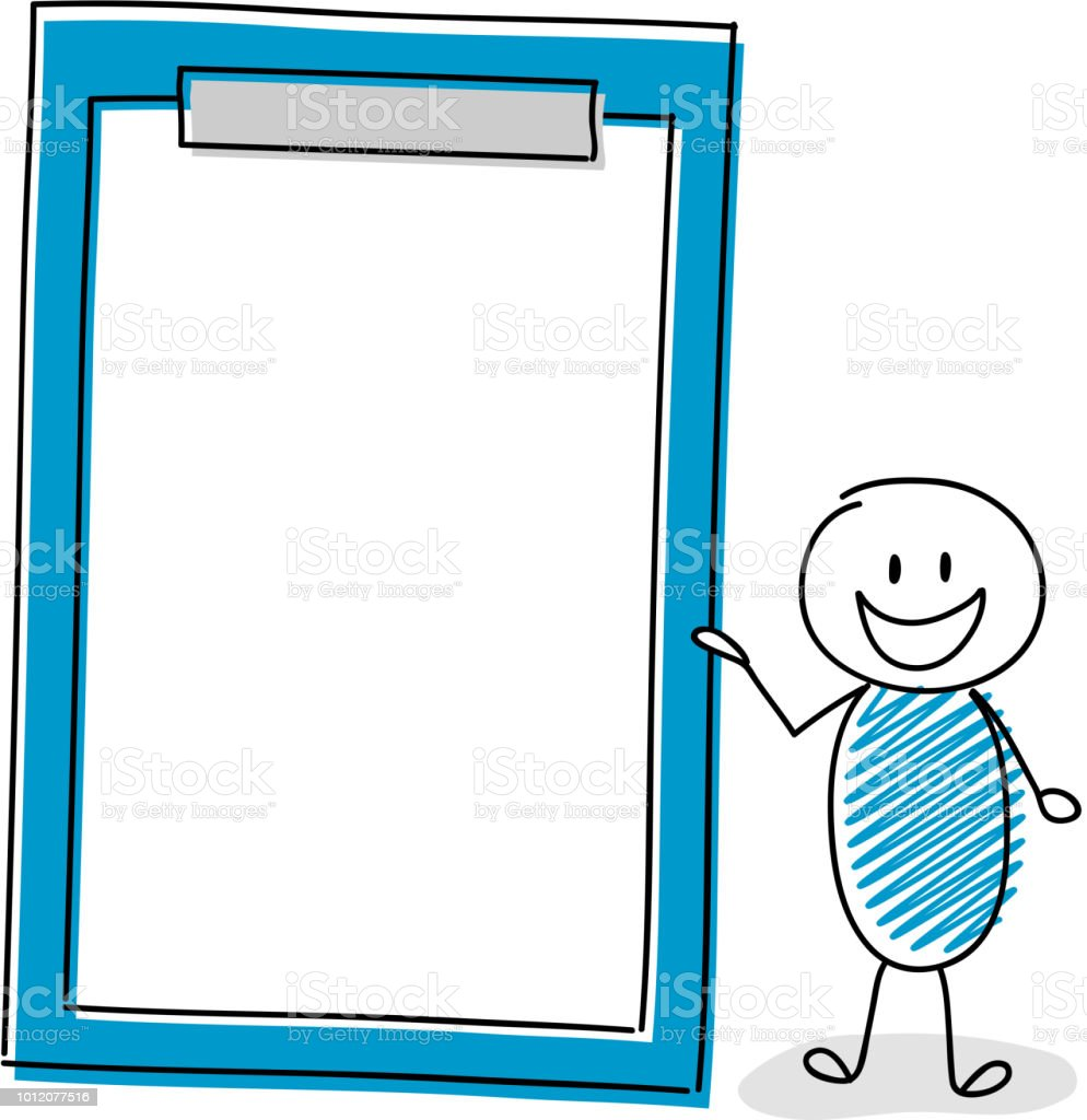 Happy stickman with hand drawn clipboard. Vector. vector art illustration