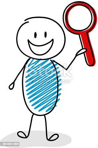 Happy stickman with magnifier (search) icon. Vector.
