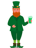 Happy St.Patrick 's Day banner. Funny red leprechaun in a hat with a shamrock holds a mug of green beer. Fairytale Cartoon Character.