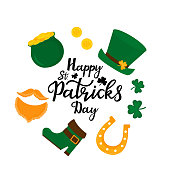 Happy St.Patrick 's Day banner. Green hat, a pot of gold coins, shamrock, horseshoe, beer