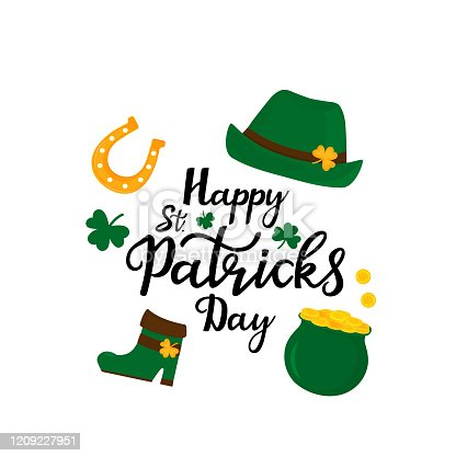 Happy St.Patrick 's Day banner. Green hat, a pot of gold coins, shamrock, horseshoe
