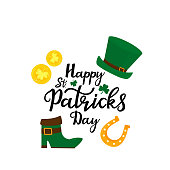 Happy St.Patrick 's Day banner. Green hat, gold coins, shamrock, horseshoe and leprechaun boot