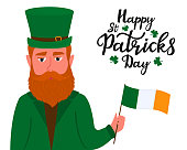 Happy St.Patrick 's Day banner. Irish red-haired bearded man in a green hat with a golden shamrock holds the flag of Ireland in his hand.