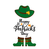 Happy St.Patrick 's Day banner. Traditional irish green hat with golden shamrock and boots