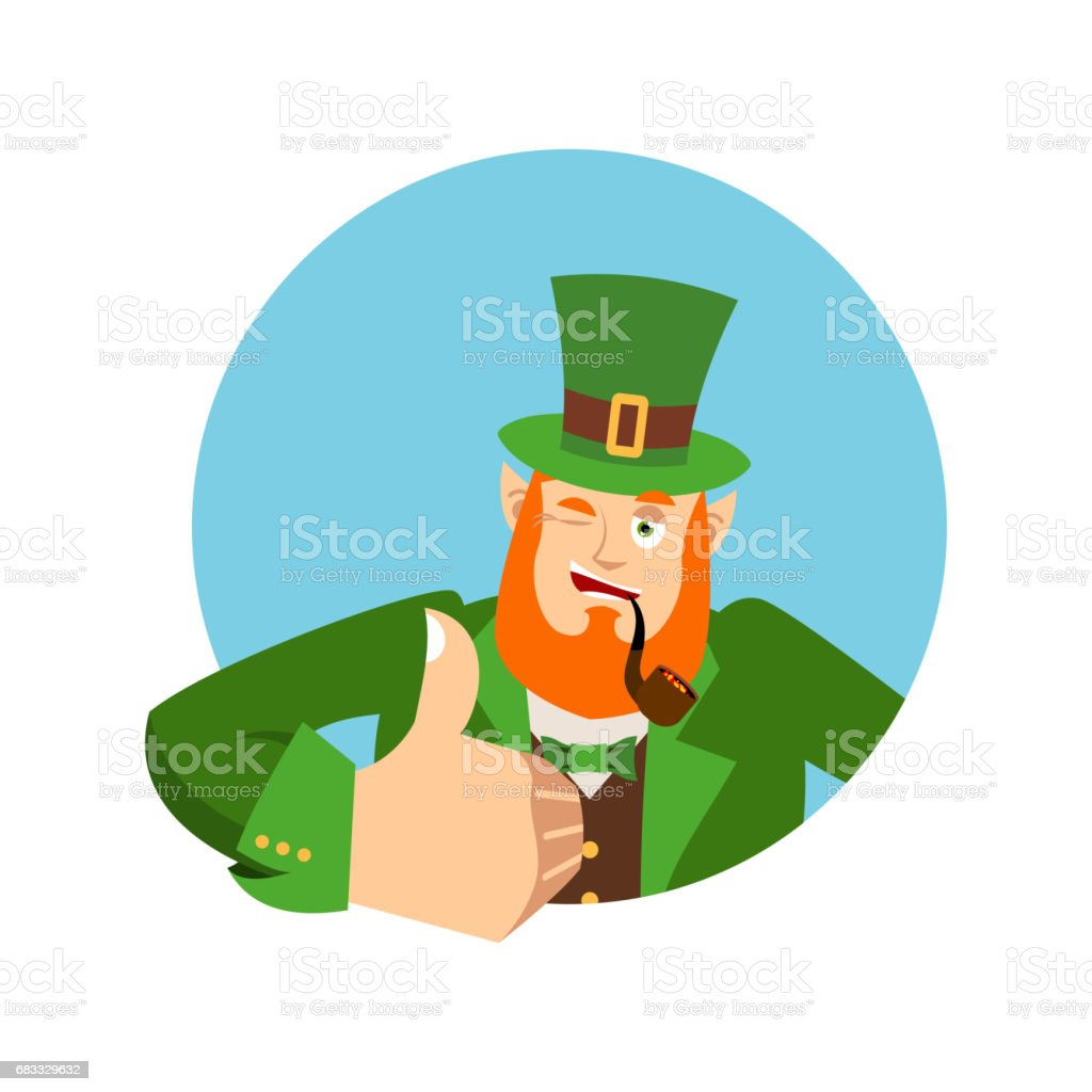 Happy St.Patrick 's Day. Leprechaun winks. Dwarf with red beard thumbs up. Irish elf emotions. Holiday in Ireland royalty-free happy stpatrick s day leprechaun winks dwarf with red beard thumbs up irish elf emotions holiday in ireland stock vector art & more images of avatar