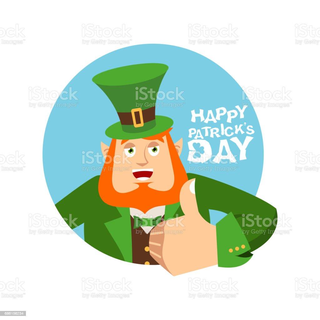 de6c3f7e5e7f3 Happy St.Patrick  s Day. Leprechaun winks. Dwarf with red beard thumbs up. Irish  elf emotions. Holiday in Ireland - Illustration .