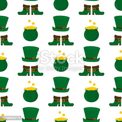 Happy St.Patrick 's Day seamless pattern. Irish green hat, boots, pot with golden coins background