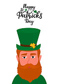 Happy St.Patrick 's Day vertical banner. Funny leprechaun with red beard in a traditional irish green hat hat with a shamrock.