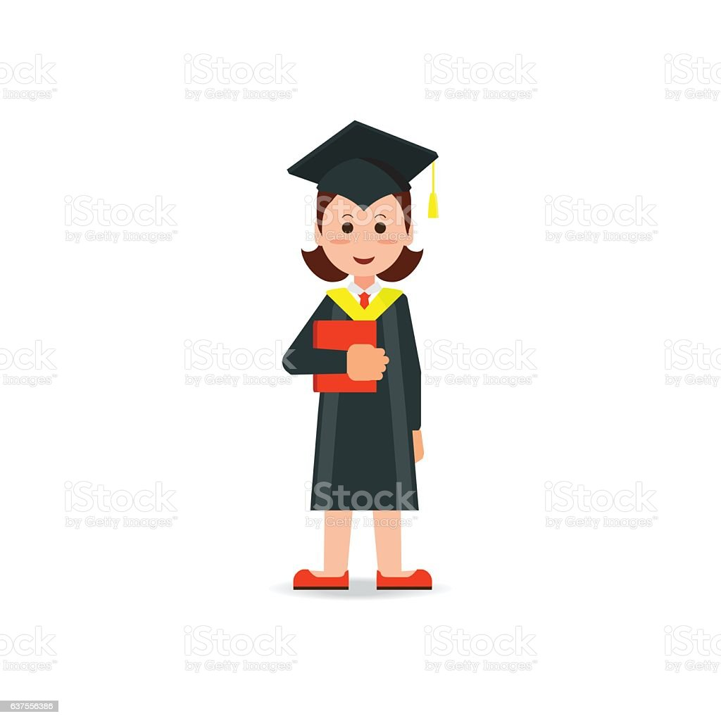 Happy Student Graduated Wearing Mortar Board Hat And Gown Stock ...
