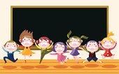7 happy cute child in school classroom,vector illustration
