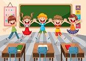 happy cute child in school classroom,vector illustration