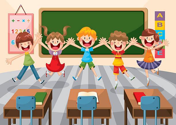 ハッピーな学生のスクール形式 - 数学の授業点のイラスト素材/クリップアート素材/マンガ素材/アイコン素材