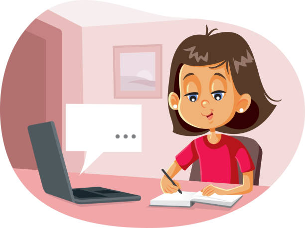 happy student in digital homeschool online class program - homeschooling stock-grafiken, -clipart, -cartoons und -symbole