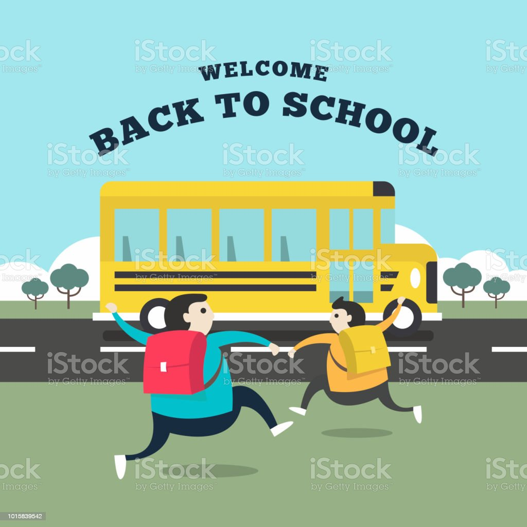 Happy Student Running To The Bus For Go To School Welcome Back To