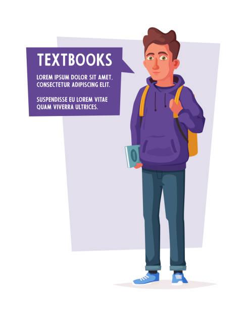 glückliche schüler mit einem rucksack und einem buch. fröhlicher junger mann. cartoon-vektor-illustration - englischlernende stock-grafiken, -clipart, -cartoons und -symbole