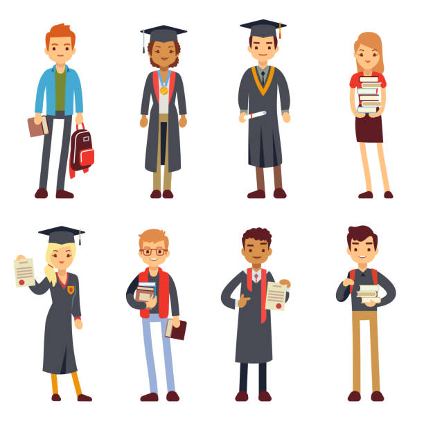Happy students and graduates young learning people vector characters vector art illustration