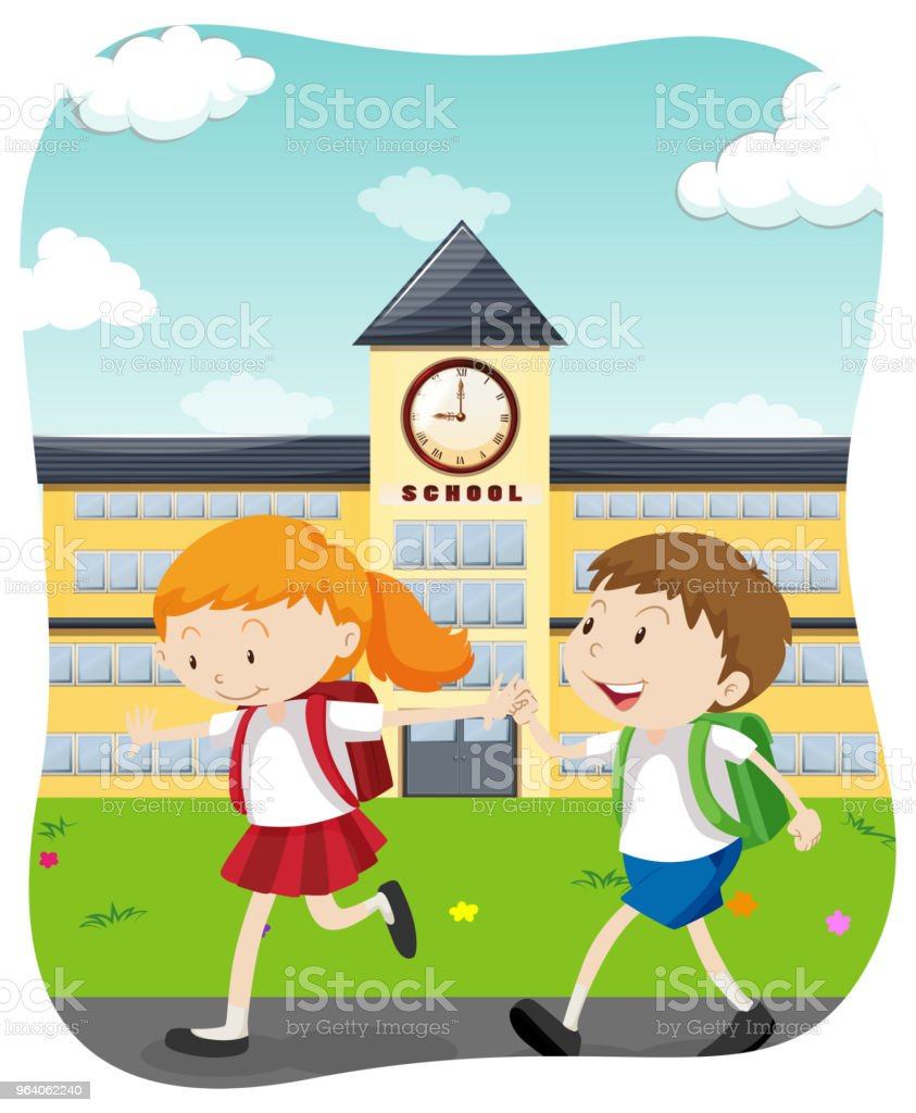 Happy Students Going to School - Royalty-free Art stock vector