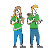Happy Students Male and Female Characters with Backpacks and Textbooks. Schoolboy and Schoolgirl Greeting New Educational Year. Back to School, University Concept. Linear People Vector Illustration