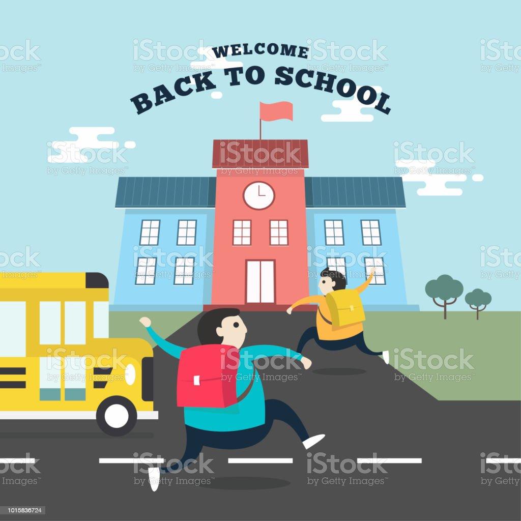 Estudiantes felices corriendo a la escuela con el autobús de la escuela. Regresar al concepto de escuela. - ilustración de arte vectorial