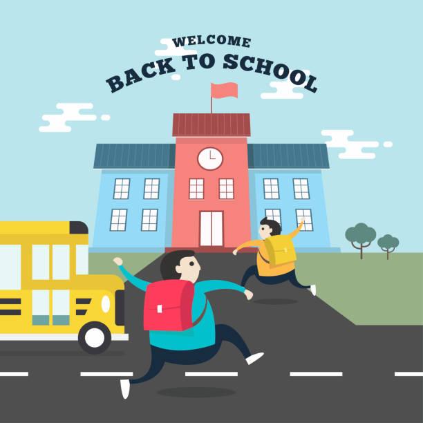 ilustraciones, imágenes clip art, dibujos animados e iconos de stock de estudiantes felices corriendo a la escuela con el autobús de la escuela. regresar al concepto de escuela. - regreso a clases