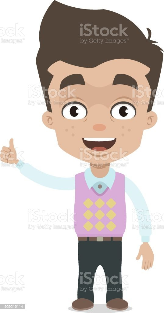 Happy successful boy showing thumb up vector art illustration