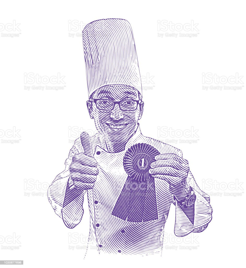 Happy, successful chef giving thumbs up hand gesture vector art illustration