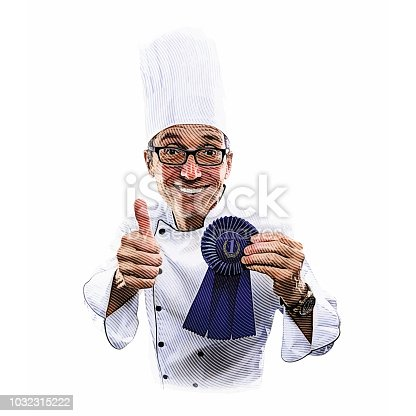 Engraving illustration of a Happy, successful chef giving thumbs up hand sign