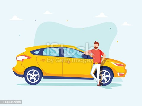 istock Happy successful man is standing next to a yellow car on a background. Vector illustration in cartoon style. 1144385888