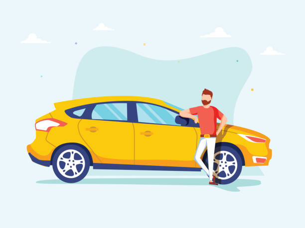 Happy successful man is standing next to a yellow car on a background. Vector illustration in cartoon style. Happy successful man is standing next to a yellow car on a background. Vector illustration in cartoon style. Automobile dealer concept. Happy taxi driver near his car, illustration for taxi app car salesperson stock illustrations