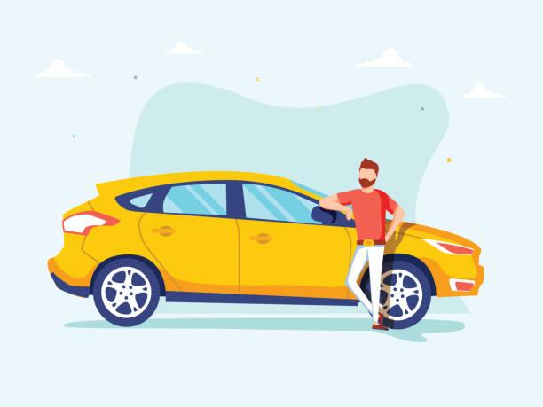 Glücklich erfolgreicher Mann steht neben einem gelben Auto auf einem Hintergrund. Vector Illustration im Zeichentrickstil. – Vektorgrafik