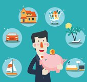 Happy, successful, smiling businessman with a piggy bank. 6 icons: house, car, yacht, shopping cart, furniture and holiday vacation. Saving and investing money. Future financial planning concept