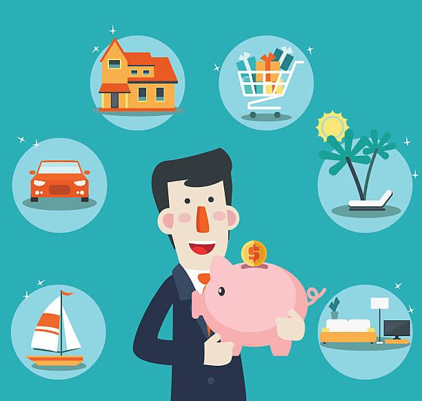 ilustraciones, imágenes clip art, dibujos animados e iconos de stock de feliz, exitosa, sonriente hombre de negocios con un alcancía - planificación financiera