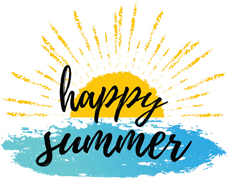 Happy Summer Calligraphic Poster Vector Background With Hand Lettering  Stock Illustration - Download Image Now - iStock