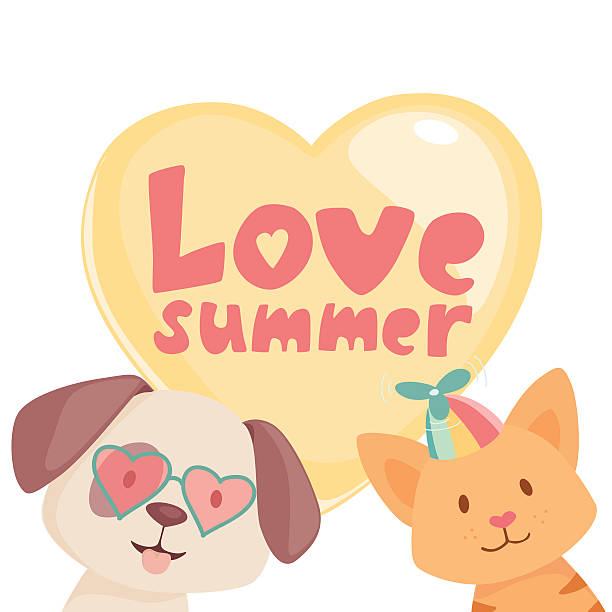 Happy summer cat and dog vector art illustration