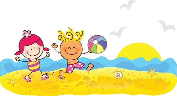 Happy Summer Children at Beach