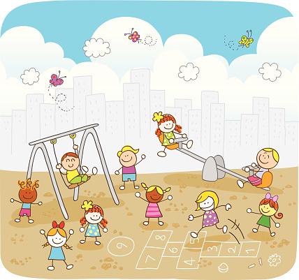 happy summer children playing at park cartoon illustration