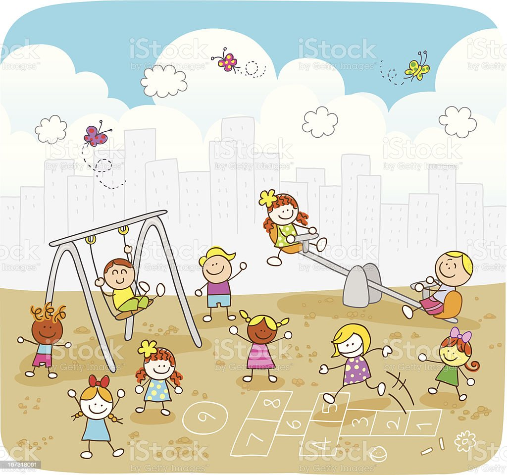 happy summer children playing at park cartoon illustration vector art illustration