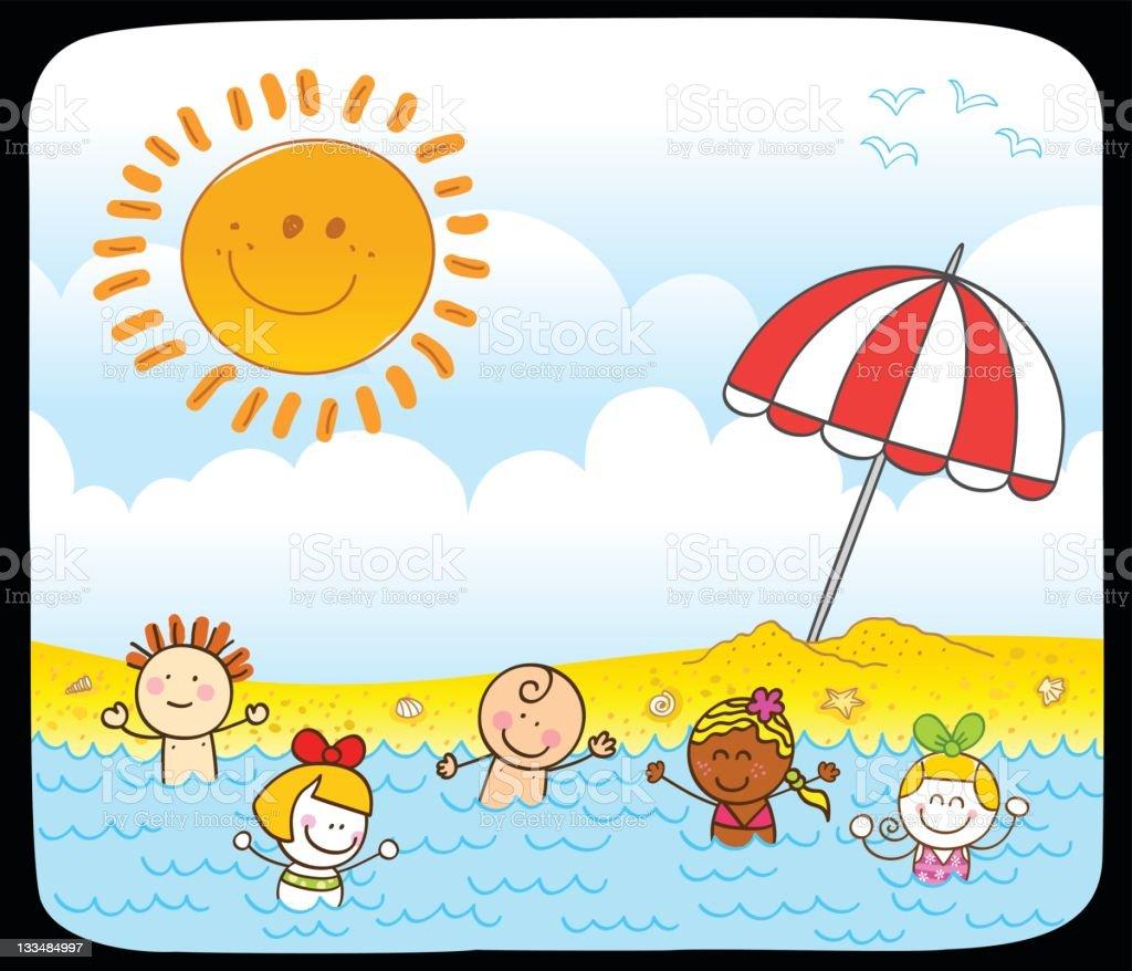 happy summer children swimming at sea cartoon illustration vector art illustration