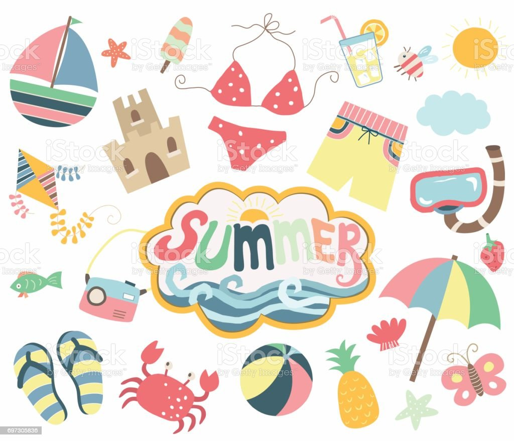 Happy Summer Day Collections vector art illustration