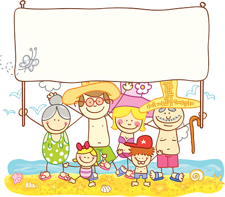 happy summer family with banner cartoon illustration