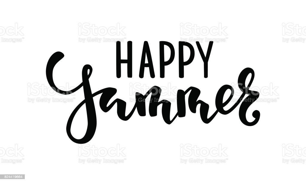 Feliz verano. Mano dibuja Letras de caligrafía y cepillo de pluma. diseño de tarjeta de felicitación del día de fiesta y la invitación de vacaciones temporada de verano, fiestas en la playa verano, viajes y Turismo - ilustración de arte vectorial