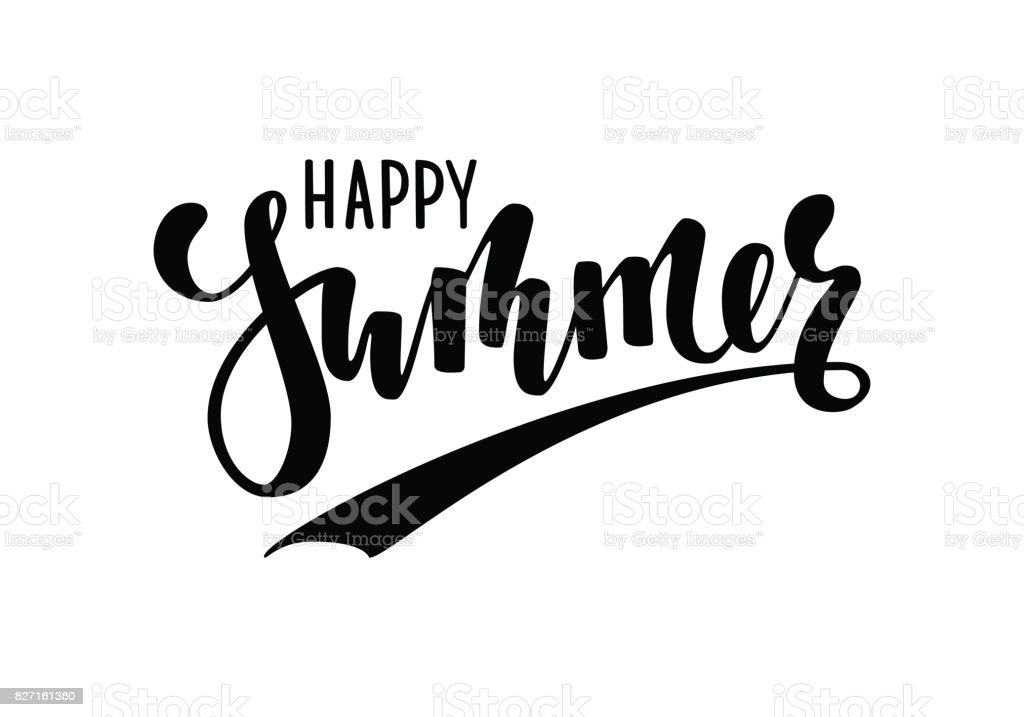 Happy summer hand drawn calligraphy and brush pen lettering