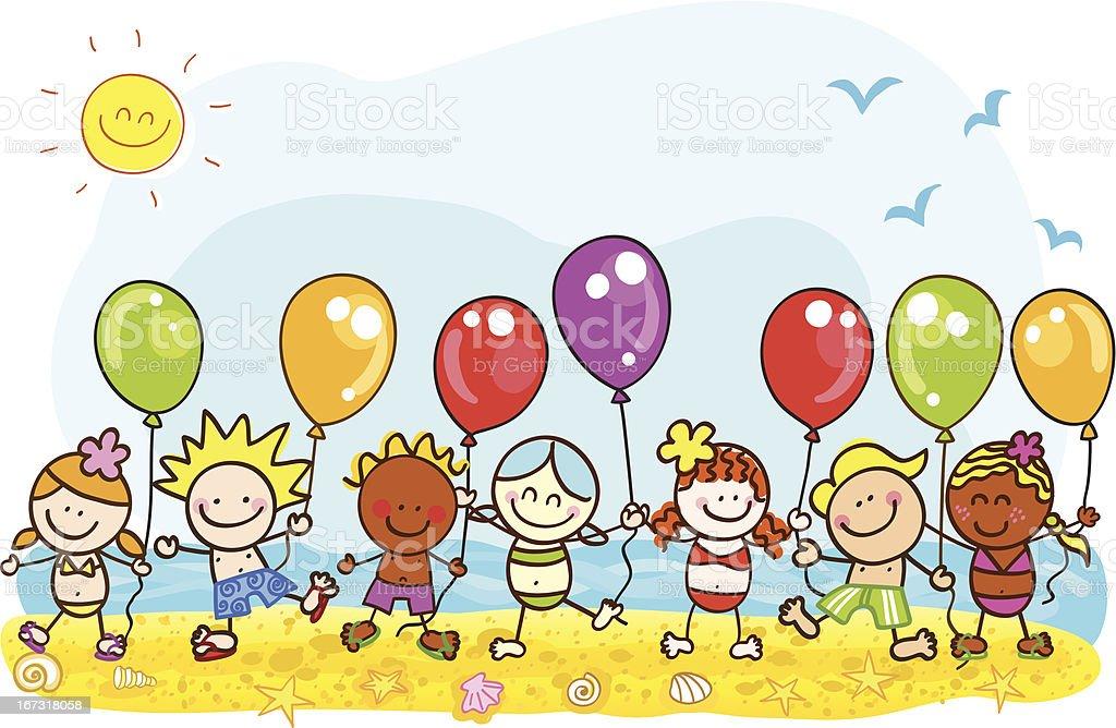 happy summer holiday at beach kids with balloons cartoon illustration vector art illustration