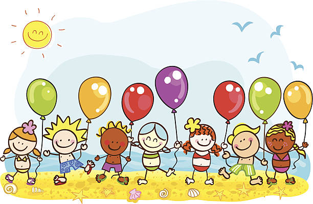 happy sommerurlaub am strand kinder mit luftballons cartoon illustration - meereslebenskindergarten stock-grafiken, -clipart, -cartoons und -symbole