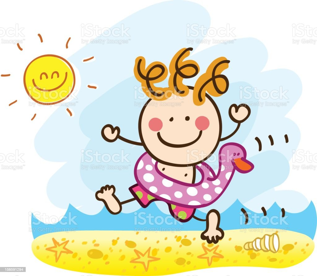 happy summer holiday boy running sea yo swim cartoon illustration royalty-free stock vector art