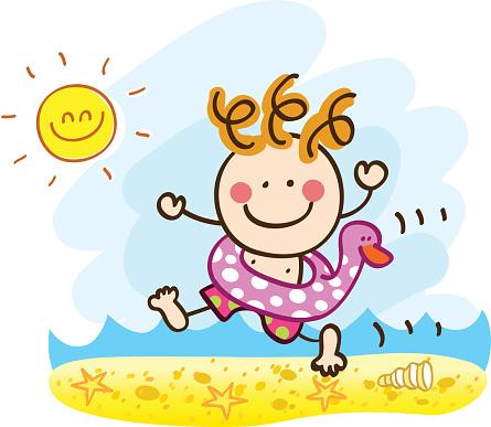 happy summer holiday boy running sea yo swim cartoon illustration