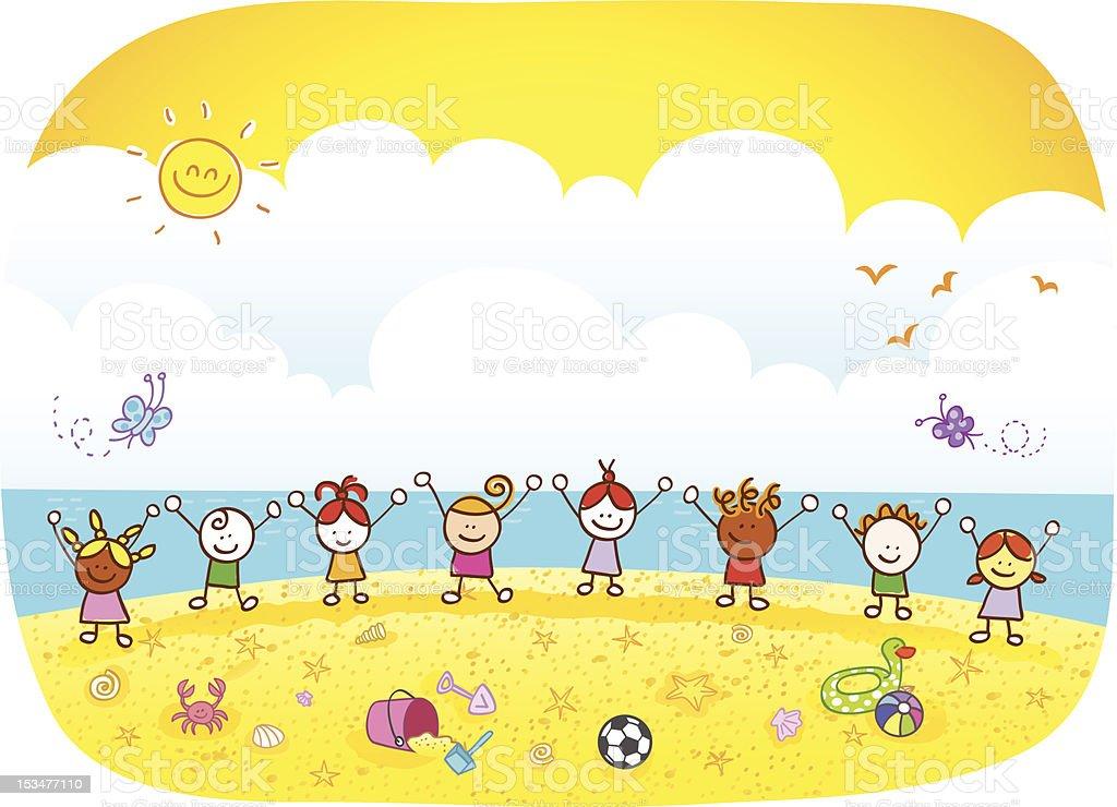 happy summer holiday children kids at beach cartoon illustration vector art illustration