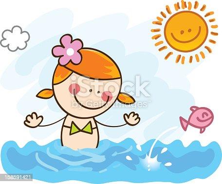 Happy Summer Holiday Girl Swimming In Ocean Cartoon ...